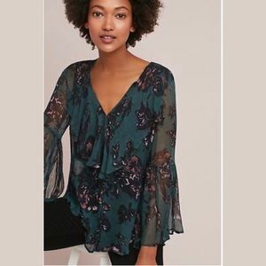 Featherbone Sheer Floral Bell Sleeve Button Up Top